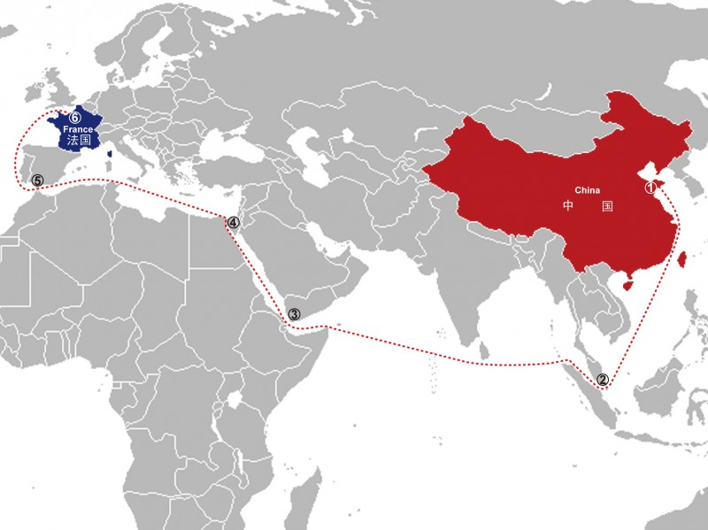 route maritime chine france