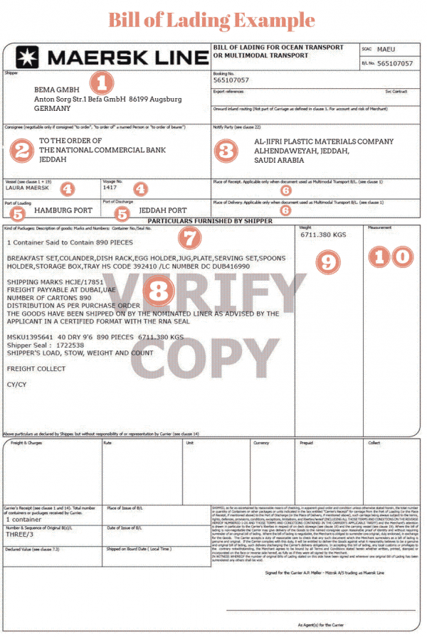 bill of lading fret maritime