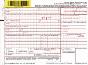 Formulaire de déclaration douanière du service postal des États-Unis